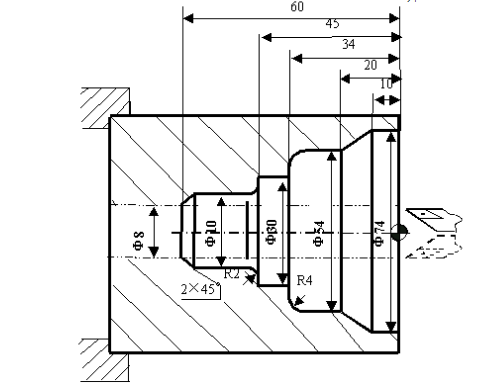 数控车床指令G72内径粗切复合循环编程图文实例